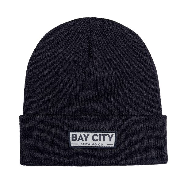 Black beanie with gray and black woven patch