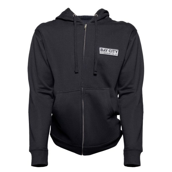 Hoodie Front showing sewn on patch